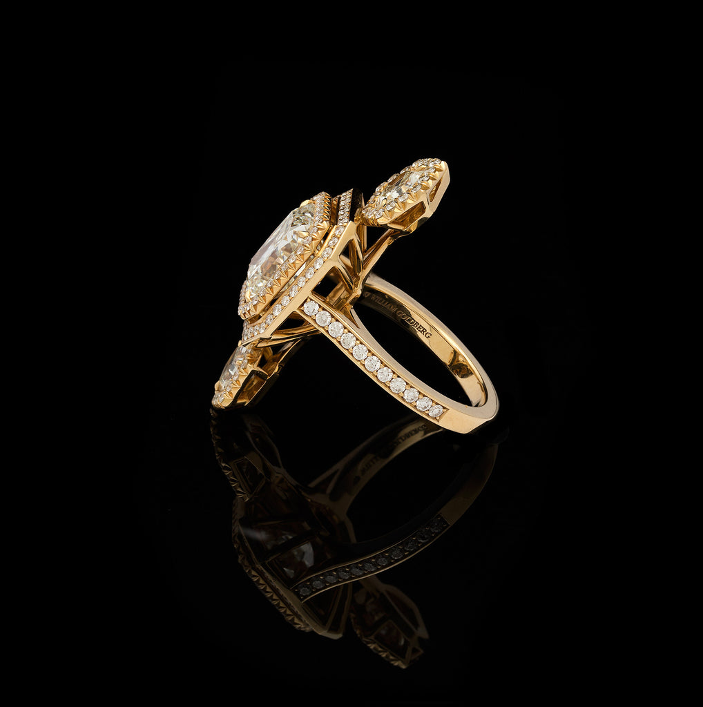 engagement cut gold carat certified gia radiant solitaire ring diamond yellow