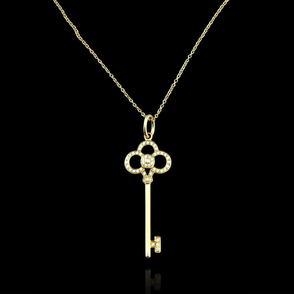 Yellow gold diamond key pendant necklace by tiffany co 66mint yellow gold diamond key pendant necklace by tiffany mozeypictures Images