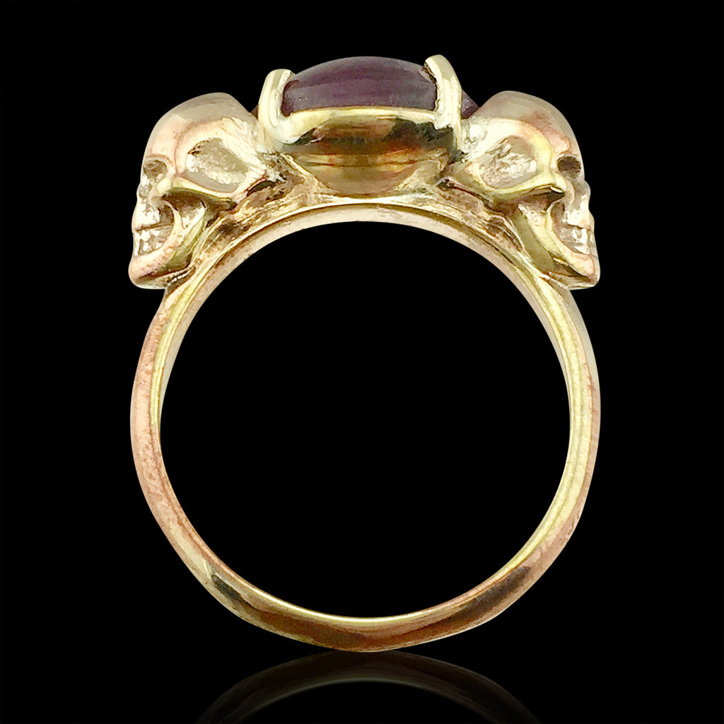 One Of A Kind Star Sapphire Amp Gold Skull Ring 66mint