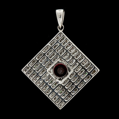 Diagonal Square Diamond, Ruby Pendant