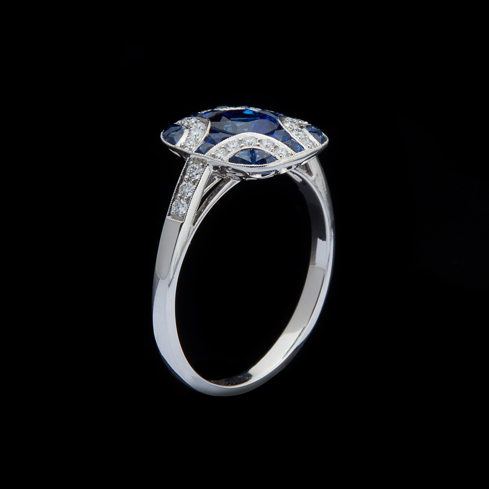 Art Deco Style Sapphire And Diamond Platinum Ring 66mint Fine Estate Jewelry