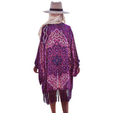 Purplelicious Floral Chiffon Cover Up beachwear - Aqua Melia