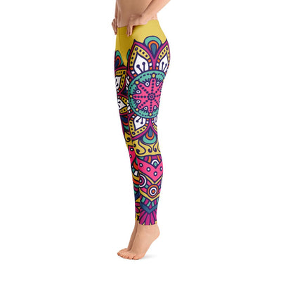 Yellow Mandala Leggings - PrimaVegan