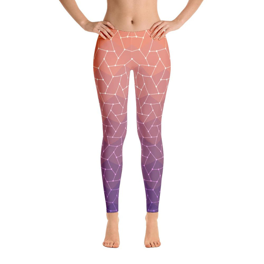 Geometric Orange Leggings - PrimaVegan