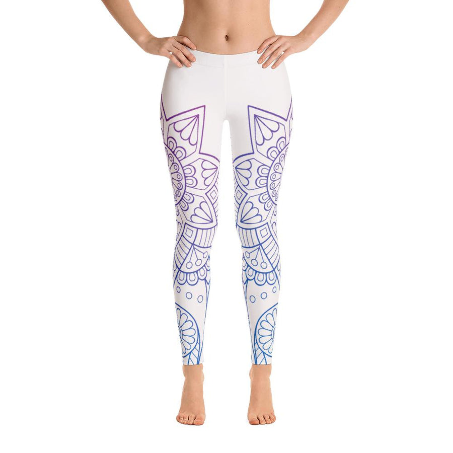 White Mandala Leggings - PrimaVegan