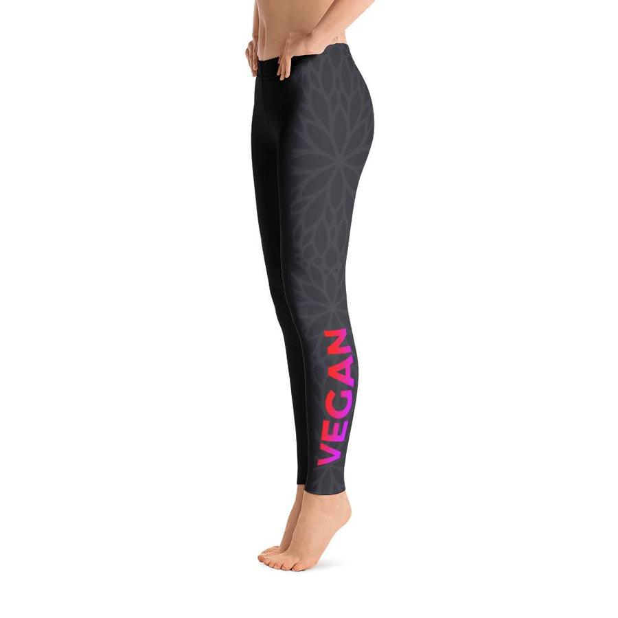 Black Flower Leggings - PrimaVegan