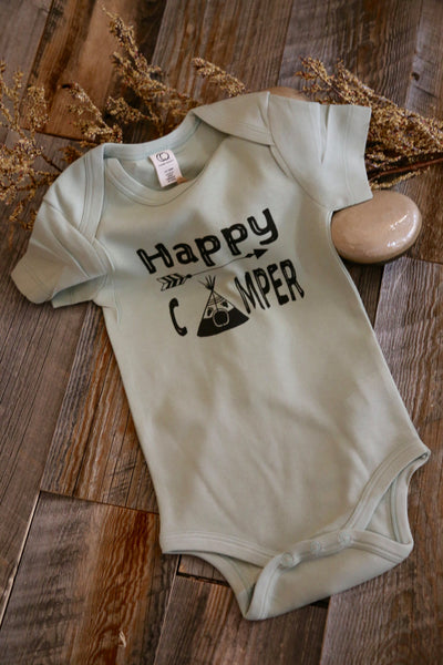 Happy camper baby outfit, happy camper bodysuit, organic cotton Bodysuit, happy Camper, baby gift, arrow bodysuit, teepee tee, baby tee
