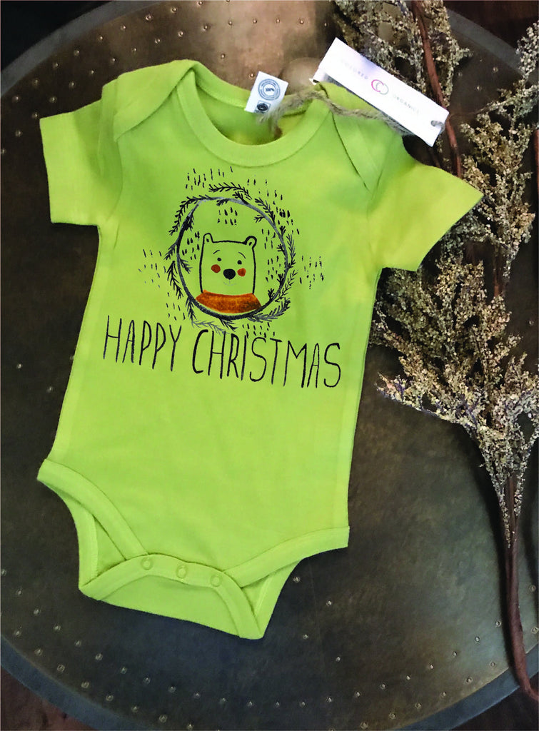 Happy Christmas, 1st Christmas outfit, Christmas bodysuit, Christmas baby, organic cotton Bodysuit, baby gift, bear bodysuit, baby tee
