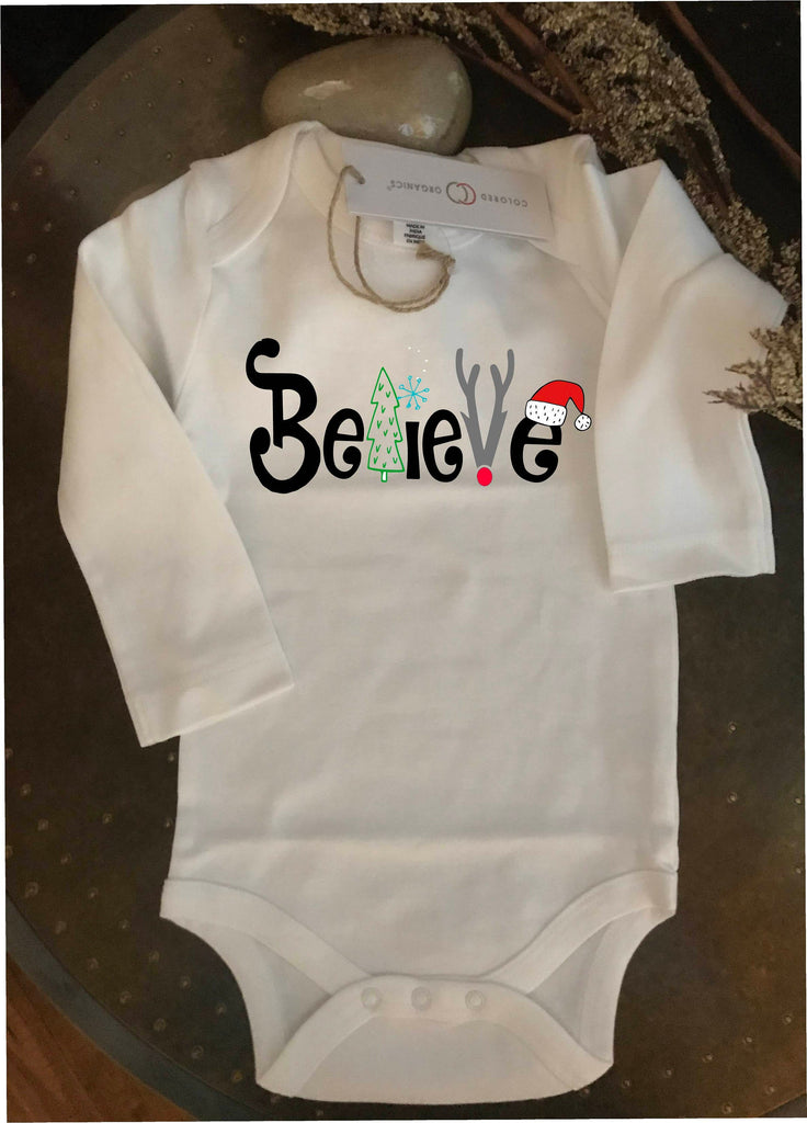 Believe Christmas, 1st Christmas outfit, Christmas bodysuit, Christmas baby, organic cotton Bodysuit, baby gift, Santa tee, baby tee