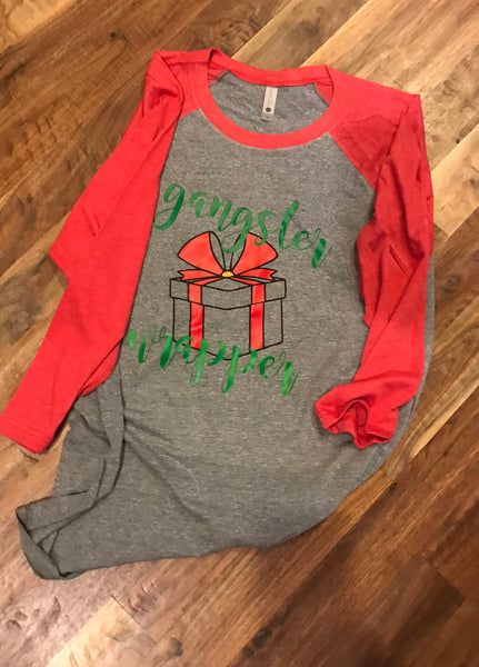 Gifts for mom/Gangter wrapper/Believe/Holiday Shirt/Christmas gift/Christmas baseball tee/Christmas shirt/Gifts/Raglan shirt