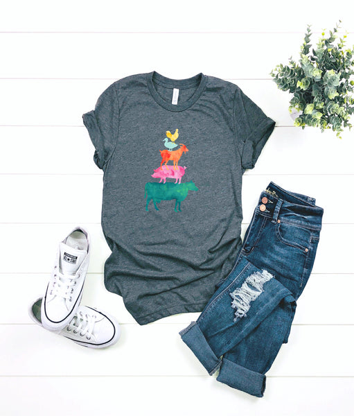 Farm animal shirt/Cow Shirt/ladies shirt/gifts for her/Farm/cow shirt/chicken shirt