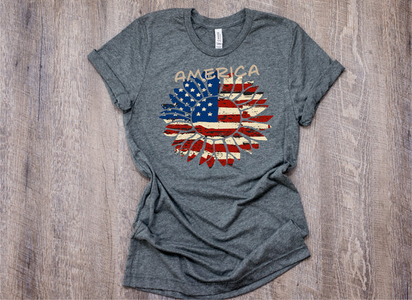 Sunflower flag/sunflower/America Shirt/Gifts for her/fourth of July T/USA independence day/United States/4th of July shirt/flag Shirt