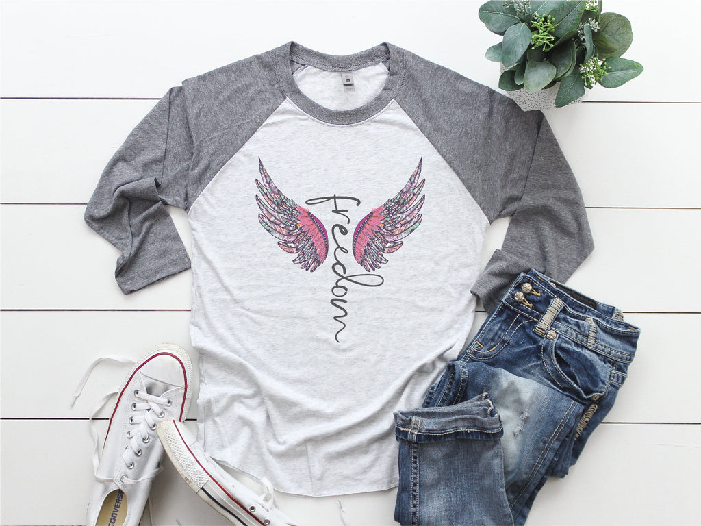 Freedom shirt/Baseball Tee/Motivational shirt/angel wings shirt/Gifts for her/inspirational shirt/Raglan shirt/fun shirt/Be kind shirt