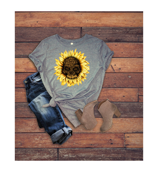 Halloween shirt/Fall Shirts/Hello Fall shirt//Ladies shirt/Sunflower shirt/skull shirt/
