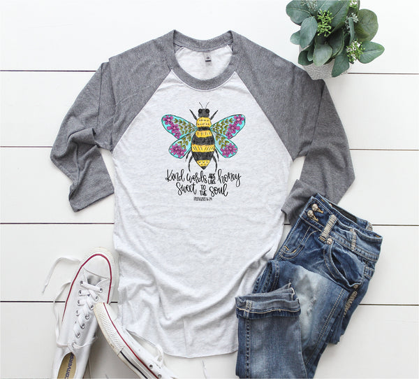 Be happy shirt/Bee shirts/Motivational shirt/Be kind shirts/Gifts for her/inspirational shirt/Raglan shirt/fun shirt/Be kind tee