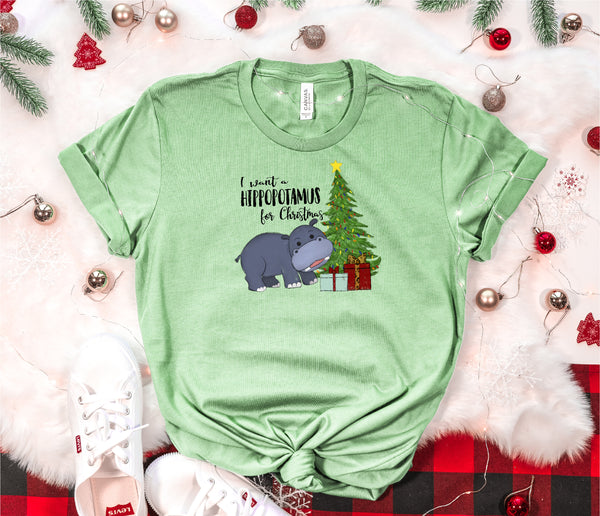 Christmas Shirt, All I want is a Hippo Shirt, Holiday Shirt, Christmas gift, ladies shirt, hippo shirt, Best selling short sleeve,