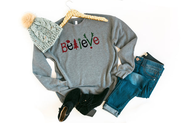 Believe | Buffalo plaid Believe |mama shirt | Best selling sweatshirt | Mom Gift | Mommy Sweatshirt | Christmas mom Gift