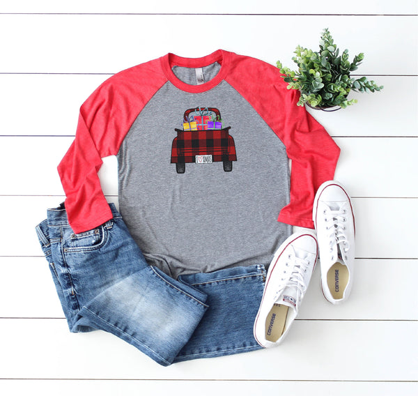 Christmas Shirts, vintage truck Shirts, gift for her, Merry Christmas, Buffalo plaid Shirt, Raglan shirt