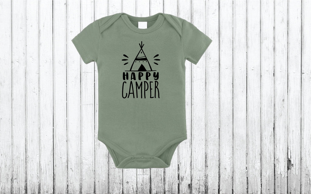 Happy Camper Baby/Bodysuit/Baby outfit/baby shower/Gender announcement/Baby shop/cute infant apparel/baby gift/baby outfit/infant wearables