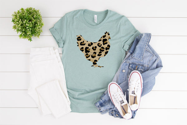 Leopard Chicken/Chicken Shirt/hippie chicken/Country Life Tee/Chicken lover Gift/Farm Animal Shirt/Crazy Chicken Lady T-shirt/