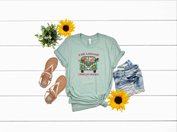 Hippie van shirt/Dog shirt/Fun shirt. Gifts for her/Girl and her Dog shirt