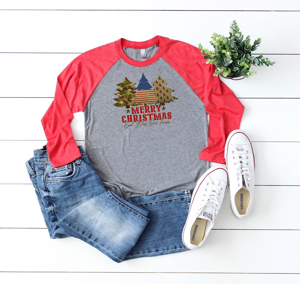 Bless Our Troops Holiday shirt/Christmas Shirt/Holiday shirt/Inspirational Christmas Shirt/Gifts for her/Raglan shirt/Military raglan shirt