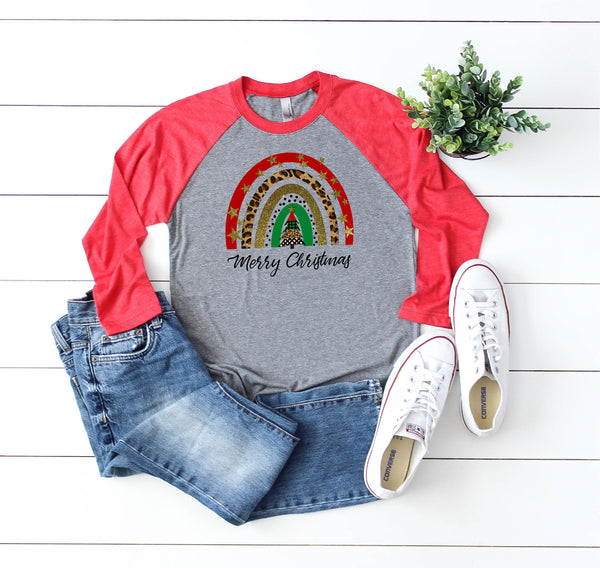 Christmas Rainbow Shirt/Christmas Shirt/Holiday shirt/Funny Christmas Shirt/Gifts for her/Raglan shirt/fun shirt/Faith raglan shirt