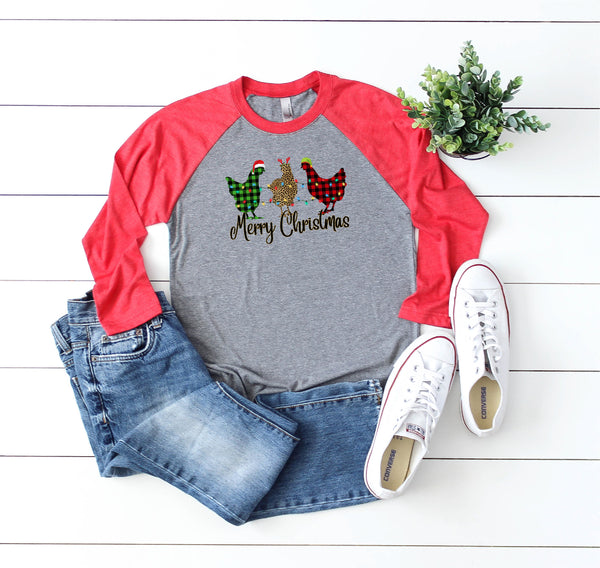 Chicken christmas shirt/Christmas Shirt/Holiday shirt/Funny Christmas Shirt/Gifts for her/Raglan shirt/fun shirt/Faith raglan shirt