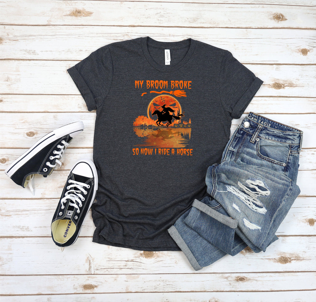 Halloween shirt, witches shirt, Horse lover shirt, horse shirt, witches Broom shirt, ladies shirt,  Best selling short sleeve