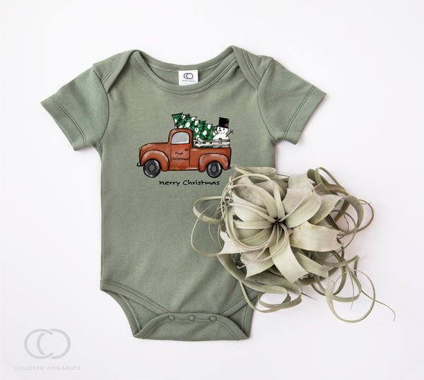 Babies first Christmas, organic cotton Bodysuit, Baby Kids Holiday Shirt, baby gift, 1st Christmas outfit