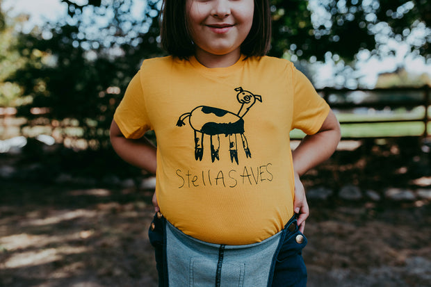 Stella Saves Kids Yellow Cow T-shirt - Birch Hill Studio
