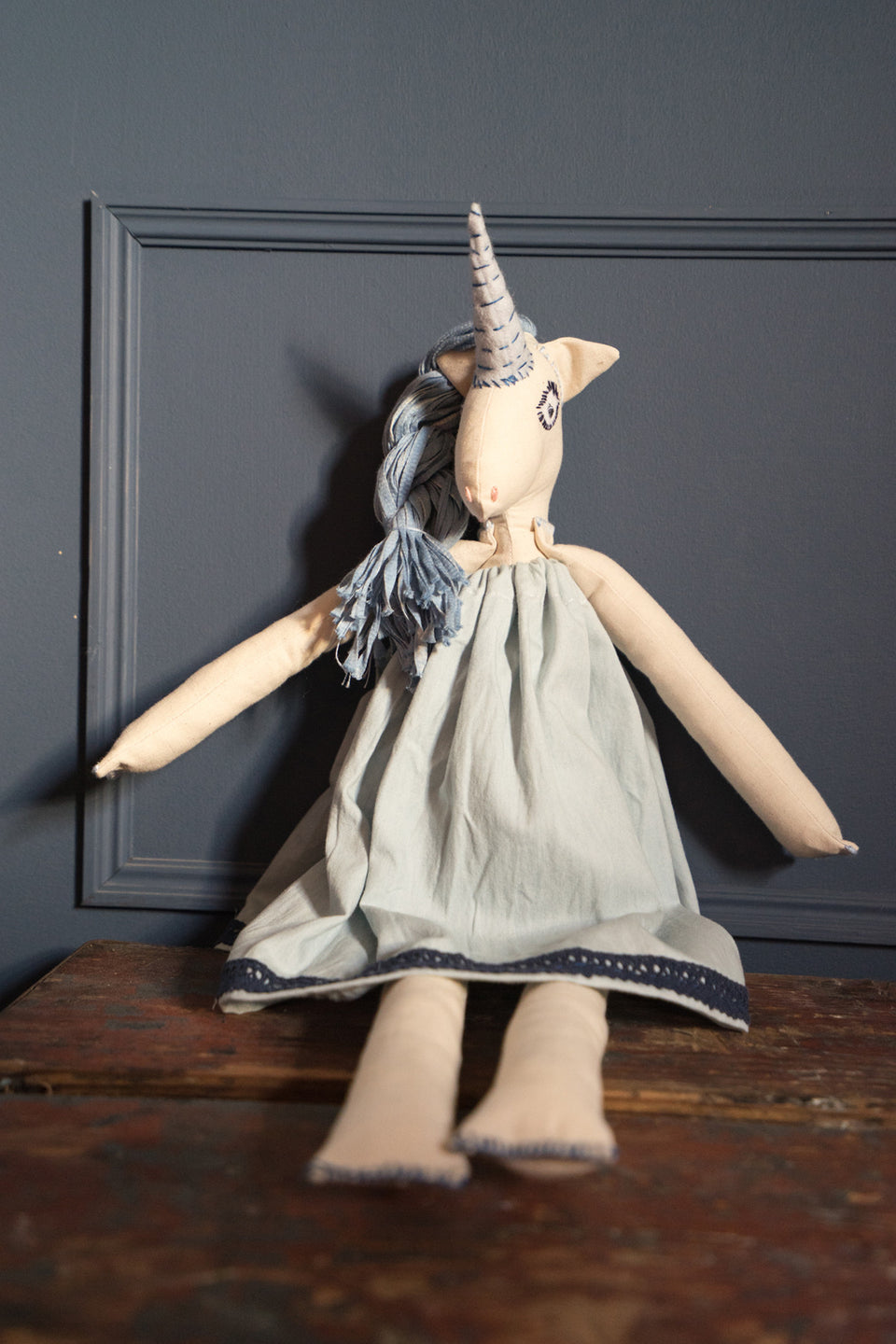 Blue Unicorn Doll - Large