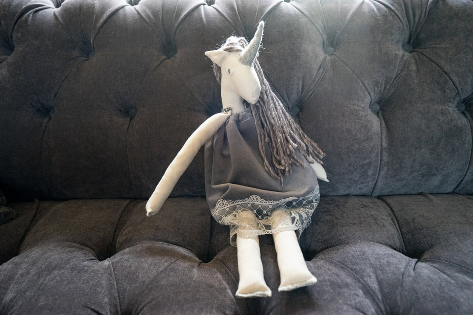 Grey Unicorn Doll - Large
