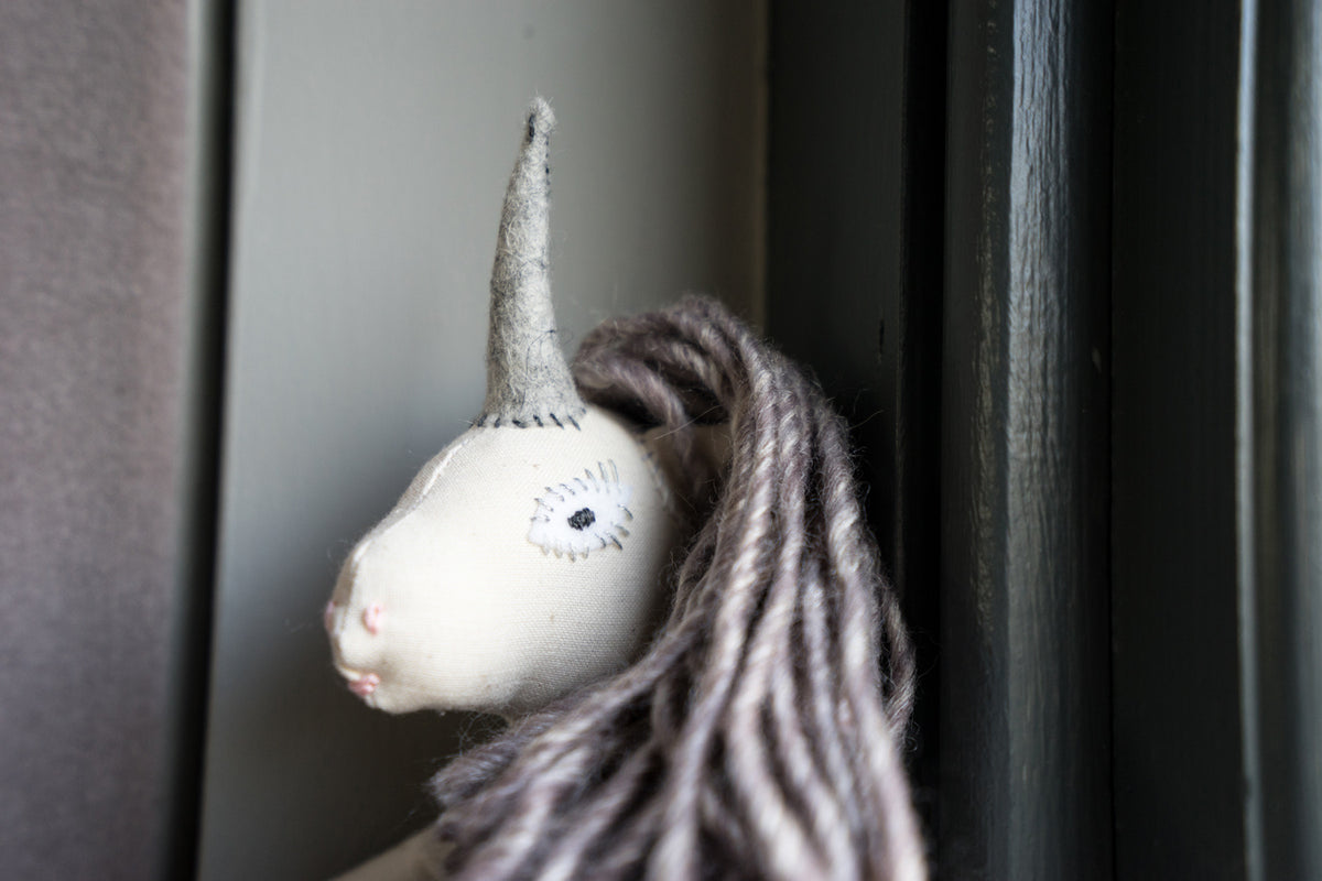 Grey Unicorn Doll - Small