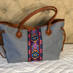 Aztec Stripe Canvas Tote
