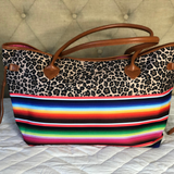 Serape Leopard Canvas Tote or Clutch