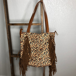 Leopard Fringe Canvas Tote