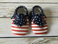 Red White & Blue Baby Moccassins