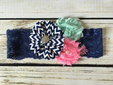 Headband- Navy Chevron Lace Headband with Flowers