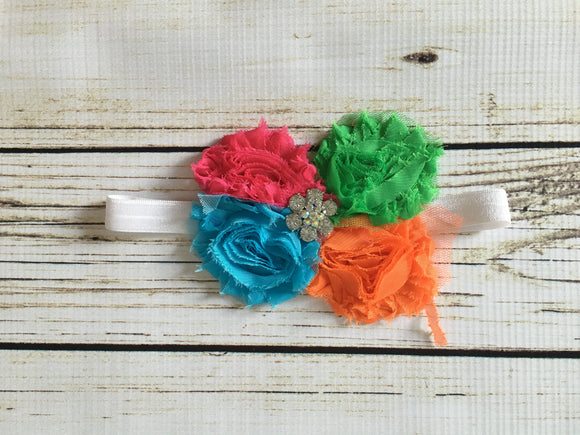 Headband- Bright Shabby Flowers