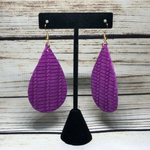 Leather Earrings Orchid w/ texture