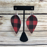 Leather Buffalo Check Earrings- Red & Black