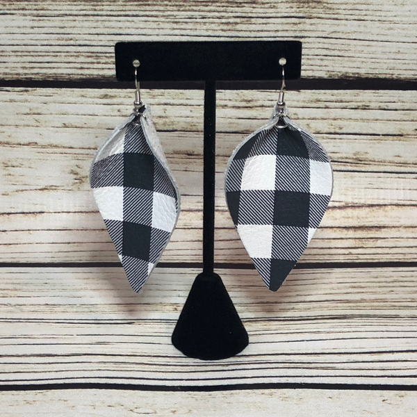 Leather Buffalo Check Earrings- White & Black