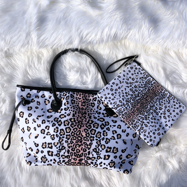 White Leopard Canvas Tote or Clutch