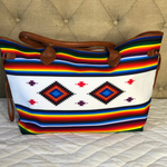 White Aztec Canvas Tote