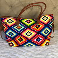 Bright Aztec Canvas Tote