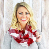 Maroon & White Infinity Scarf