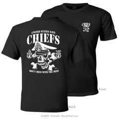 "Navy Chief ""Don't mess with the Mess"" CPO/SCPO/MCPO Skull T-shirt, Black - NavyChief.com - Navy Pride, Chief Pride."