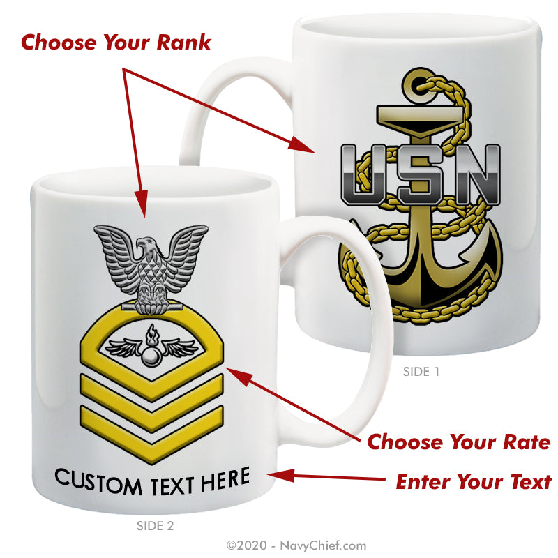 "Personalized ""Chevron Rating"" - 15 oz Coffee Mug - NavyChief.com - Navy Pride, Chief Pride."