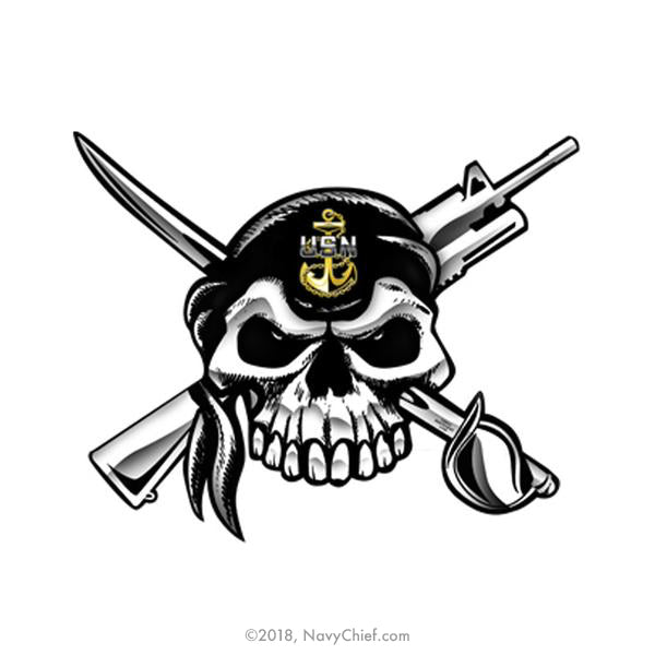 "5"" x 7"" Skull and Crossed Cutlass and M4 Color Window Sticker - NavyChief.com - Navy Pride, Chief Pride."
